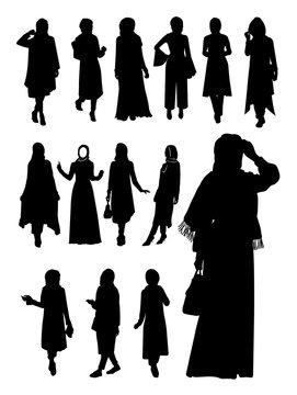 Hijab woman silhouette. Vector illustration.