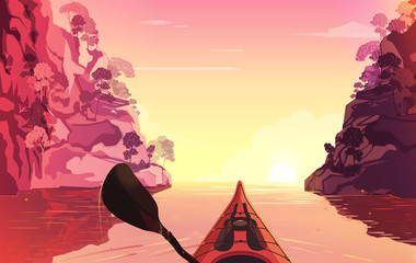 Person rowing on the river in kayak. Outdoor illustration. Sunset time.