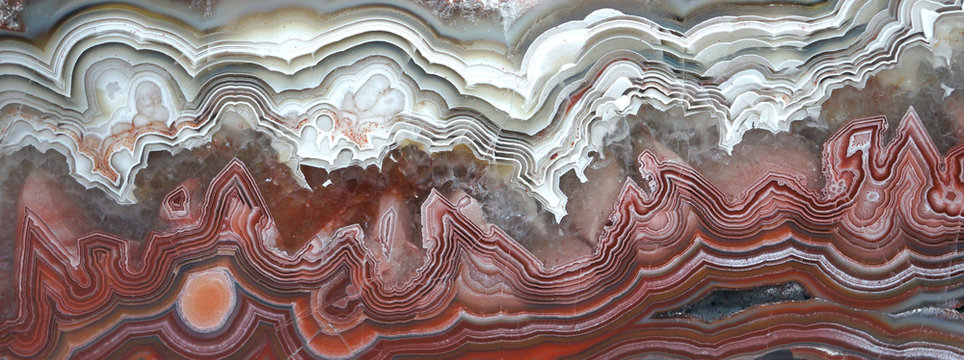 A polished banded Agate from Mexico nicknamed a Crazy Lace Agate because of the banding.