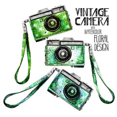 Watercolor vintage retro camera