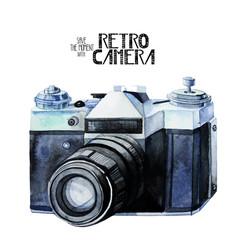 Watercolor vintage retro camera