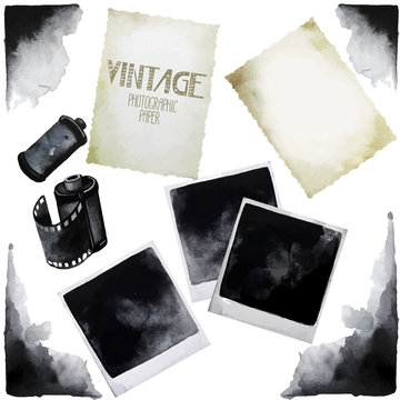Vintage set of watercolor old photographic paper