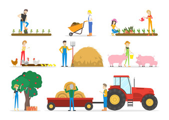 Farm illustrations set.