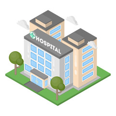 Isometric hospital building.