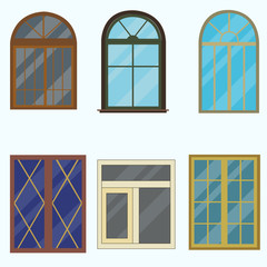 A set of classic windows for buildings.