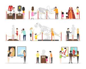 Museum illustrations set.