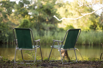 camping chair front of river