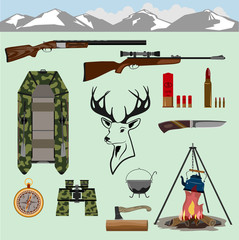 Rifles for hunting, a rubber boat swim across the river. Binoculars, a knife, a compass, a fire and cartridges. In the middle is the head of a deer. Isolated.