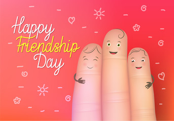 Happy friendship day poster. Realistic finger people card. Celebration card showing affection and bond between real friends. Flat style vector illustration on red background