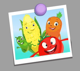 Digital vector funny comic cartoon happy family vegetables smiling in a selfie picture photo, cucumber carrot tomatoe and corn, hand drawn illustration, abstract realistic flat style