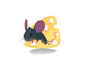 Digital vector funny comic cartoon mouse with purple ears walking and jumping on a slice of cheese with holes, moustache, hand drawn illustration, abstract realistic flat style