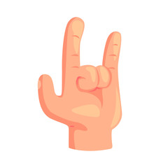 Rock and Roll hand gesture cartoon vector Illustration