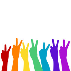 Hands showing victory sign in rainbow colors