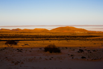 Slope hill sand on yellow dunes on blue sky background. Sunrise, morning. Sustainable ecosystem. Canary, Fuerteventura