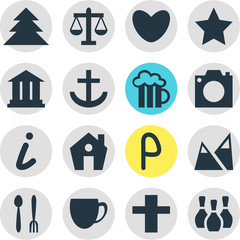 Vector Illustration Of 16 Travel Icons. Editable Pack Of Car Park, Cross, Heart And Other Elements.