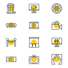 Vector Illustration Of 12 Movie Icons. Editable Pack Of Slideshow, Television, Movie Reel And Other Elements.