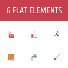 Flat Icons Mopping, Foam, Housewife And Other Vector Elements. Set Of Cleaning Flat Icons Symbols Also Includes Cloth, Bucket, Soap Objects.