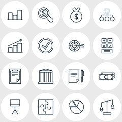 Vector Illustration Of 16 Management Icons. Editable Pack Of Balance, Chart, Goal And Other Elements.