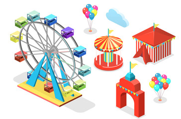 Isometric flat 3D isolated city banners with carousels. amusement park