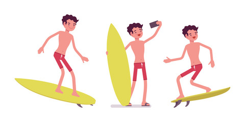 Young man in summer beach outfit surfing