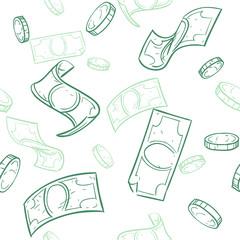 Doodle cash flow. Raining money seamless vector pattern. Falling sketch dollars background