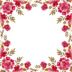 ботаническая иллюстрация, рамка из красных цветов, акварельные цветы