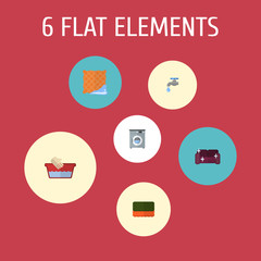 Flat Icons Laundromat, Washcloth, Faucet And Other Vector Elements. Set Of Cleaning Flat Icons Symbols Also Includes Tap, Hand, Bast Objects.
