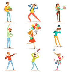 Happy people celebrating, giving gifts and having fun at a birthday party set of colorful characters vector Illustrations