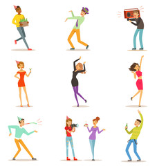 Happy people characters celebrating, dancing and having fun at a birthday party set of colorful characters vector Illustrations
