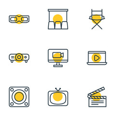 Vector Illustration Of 9 Cinema Icons. Editable Pack Of Monitor, Spectacles, Loudspeaker And Other Elements.