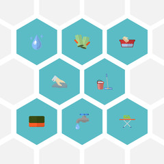 Flat Icons Aqua, Housekeeping, Towel And Other Vector Elements. Set Of Hygiene Flat Icons Symbols Also Includes Water, Drop, Cleaning Objects.