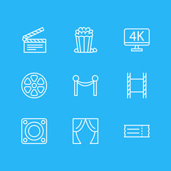 Vector Illustration Of 9 Film Icons. Editable Pack Of Theater, Loudspeaker, Filmstrip And Other Elements.
