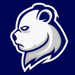 polar bear mascot sports team logo head