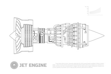Jet engine of aircraft. Part of the airplane. Side view. Aerospase industrial drawing. Outline image.