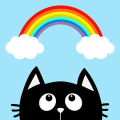 Black cat looking up to cloud and rainbow. Cute cartoon character. Valentines Day. Kawaii animal. Love Greeting card. Flat design. Blue background. Isolated.