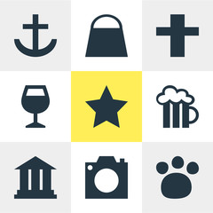 Vector Illustration Of 9 Check-In Icons. Editable Pack Of University, Photo Device, Cross And Other Elements.