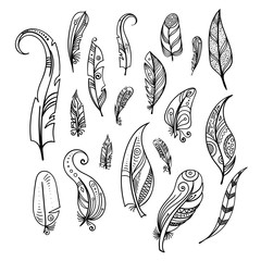 Bird feathers. Hand drawing indian elements set isolate on white. Boho style