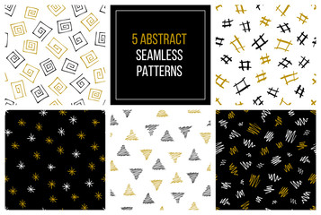 Set of hand drawn abstract seamless patterns