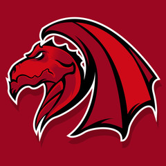 Powerfull Red Dragon mascot logo team or gaming