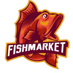 big mouth bash fish mascot logo for local market or fishing hobby community