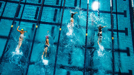 Swimmers racing crawl stroke style