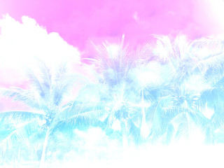 Palm tree pink and blue gradient pastel background