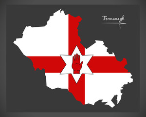 Fermanagh Northern Ireland map with Ulster banner national flag illustration