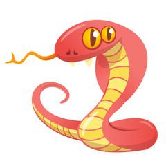 Cartoon red snake.Vector illustration