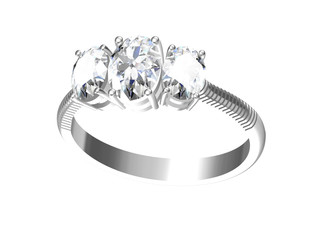 Jewellery ring on a white background.3d illustration