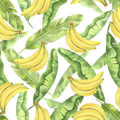 Watercolor seamless pattern with tropical green leaves and yellow bananas isolated on white background.