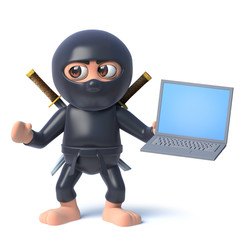 Funny cartoon 3d ninja assassin character holding a laptop pc device
