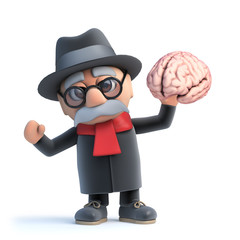 3d Cartoon old man character holding a human brain