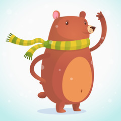 Cute cartoon bear character. Wild forest animal collection. Baby education. Isolated on white background. Flat design. Vector illustration icon of a brown bear
