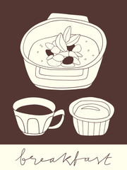 Fruit and nuts oatmeal bowl with honey and cup of coffee. Hand drawn breakfast stylized illustration. Morning menu